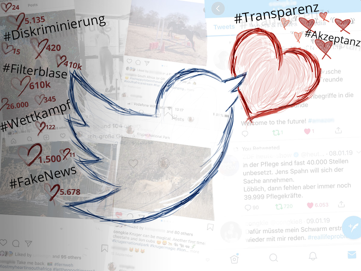 Twitter Vogel fliegt mit Like-Herz über Social-Media-Beiträge