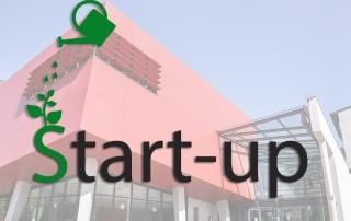 Hochschule München im Hintergrund mit einem nachhaltig gestalteten Schriftzug Start-up im Vordergrund.