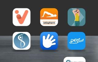 Die Icons der getesteten Apps gegen Rückenschmerzen schweben über einem grauem Tisch.