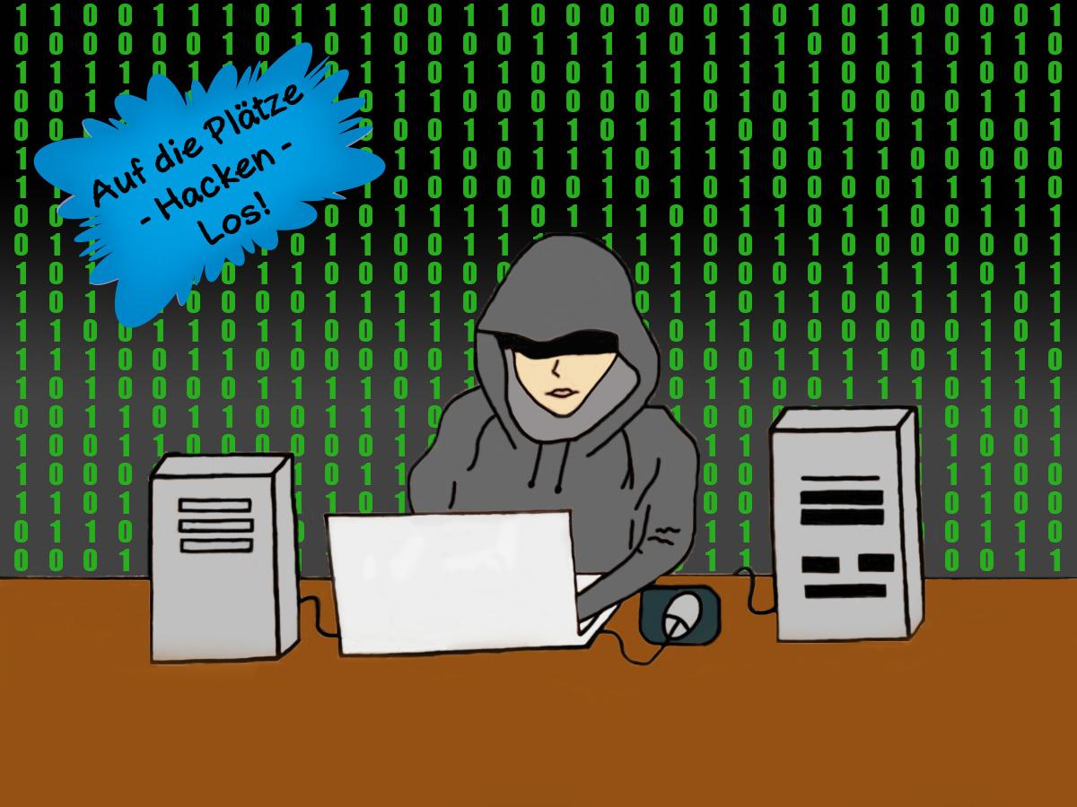 Gezeigt wird ein Hacker in einem dunklen Hoodie, der vor einem PC sitzt.