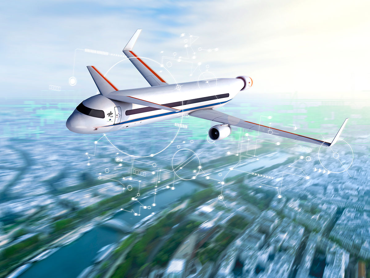 Animation eines Flugzeug, wie es in Zukunft für die Luftfahrt aussehen könnte