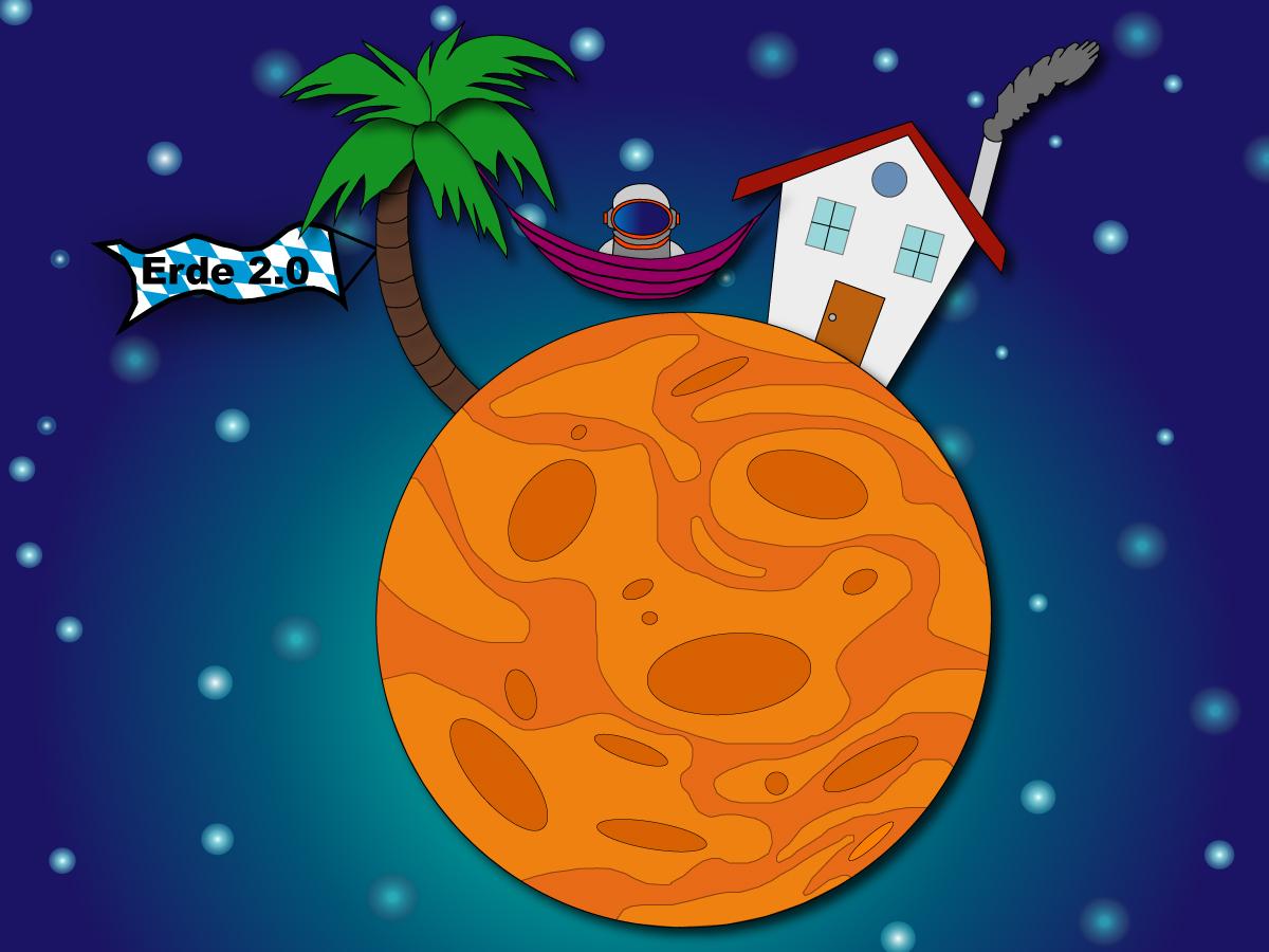 Gezeigt wird eine Karikatur von der Besiedlung des Planeten Mars. Ein Astronaut sitzt in einer Hängematte vor seinem neuen Zuhause.