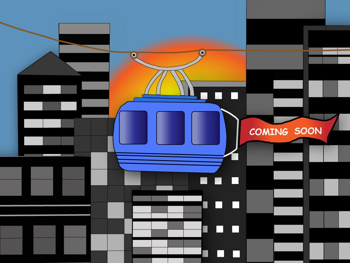Gezeigt wird die Illustration einer Seilbahn, die sich von einer tristen Skyline abhebt.