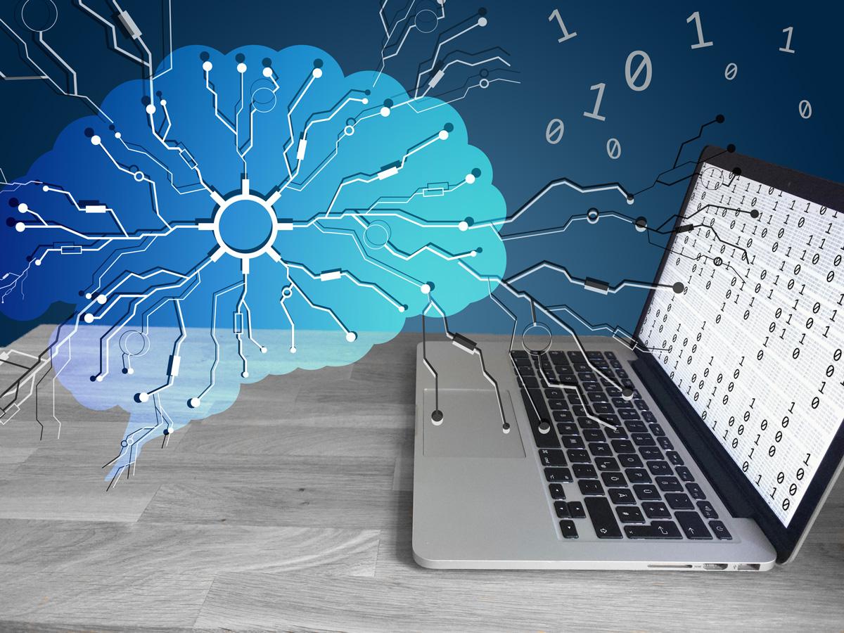 Neuronen verbinden das menschliche Gehirn mit einem Laptop und werden in Binärsprache übersetzt.
