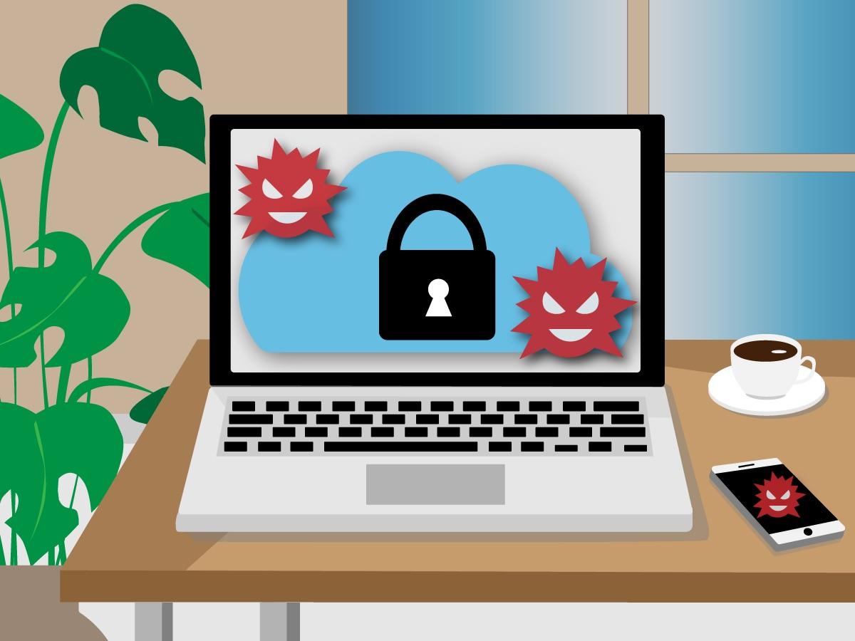 Laptop und Netzwerk werden durch Cloud-System und Verschlüsselung vor Computerviren und Cyberkriminalität geschützt.