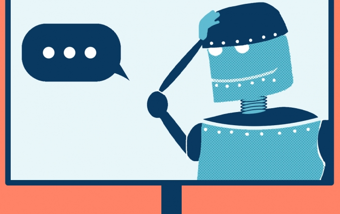 Roboter in einem Bildschirm fasst sich an seinen Kopf, denn er weiß nicht mehr weiter.