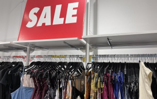 Clothing that is no longer in season is moved to the sale rack.