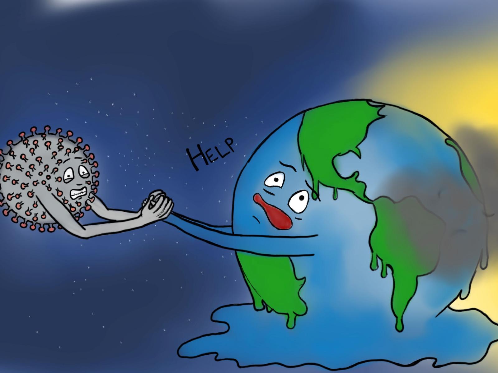 The Corona virus tries to help up the earth.