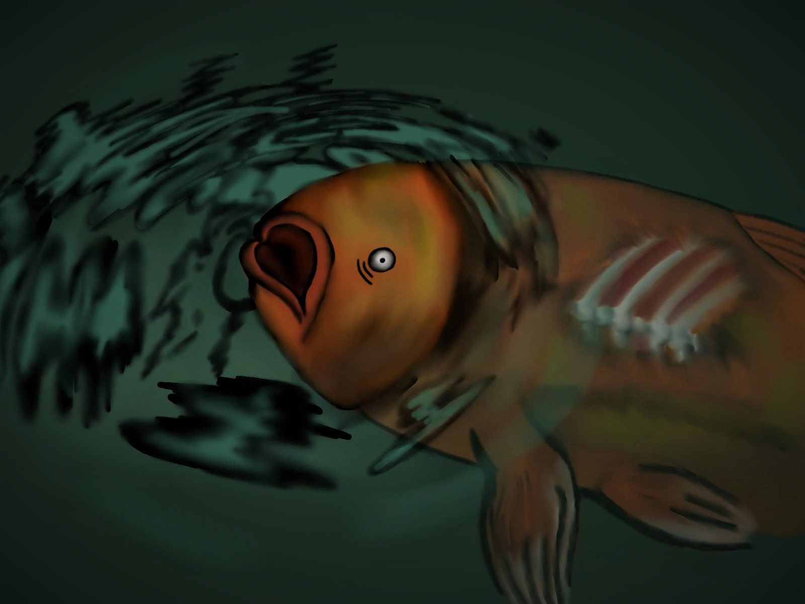 A sick fish gasping for air in dirty water.